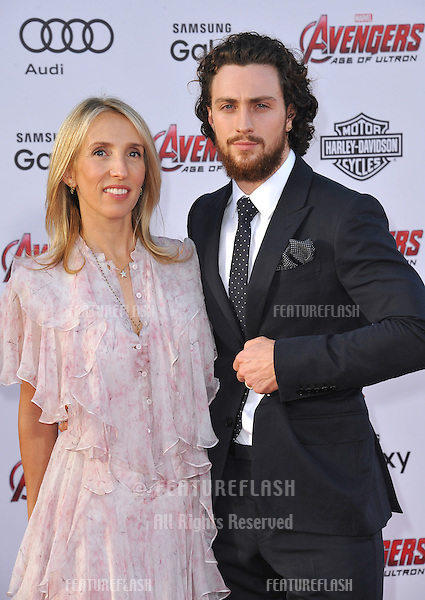 """Aaron Taylor-Johnson & wife Sam Taylor-Johnson at the world premiere of his movie """"Avengers: Age of Ultron"""" at the Dolby Theatre, Hollywood.<br /> April 13, 2015  Los Angeles, CA<br /> Picture: Paul Smith / Featureflash"""