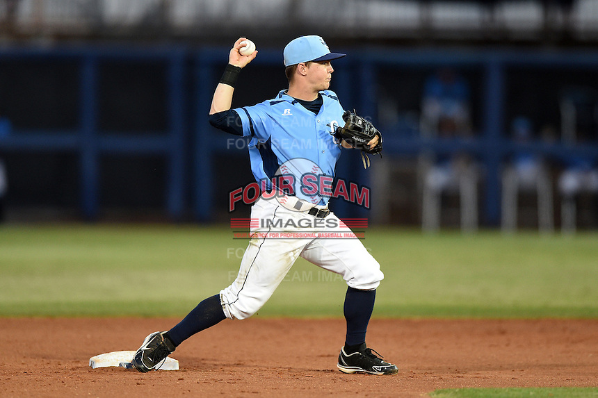 Charlotte Stone Crabs second baseman Thomas Coyle (6) attempts to turn a double play during a game against the Palm Beach Cardinals on April 12, 2014 at Charlotte Sports Park in Port Charlotte, Florida.  Palm Beach defeated Charlotte 6-2.  (Mike Janes/Four Seam Images)