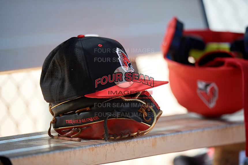 Ball State Cardinals hat and Rawlings glove on the bench during a game against the Saint Joseph's Hawks on March 9, 2019 at North Charlotte Regional Park in Port Charlotte, Florida.  Ball State defeated Saint Joseph's 7-5.  (Mike Janes/Four Seam Images)