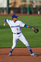 Moises Perez (6) of the Ogden Raptors during the game against the Orem Owlz in Pioneer League action at Lindquist Field on June 21, 2017 in Ogden, Utah. The Owlz defeated the Raptors 16-5. This was Opening Night at home for the Raptors.  (Stephen Smith/Four Seam Images)