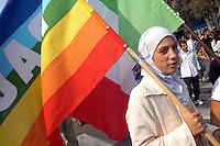 """- manifestation for the liberation of the two volunteers of humanitarian organization """"a Bridge For"""" kidnapped in Bagdad, Iraq....- manifestazione per la liberazione delle due volontarie dell'organizzazione umanitaria """"Un Ponte Per""""  rapite a Bagdad in Iraq musulmano"""