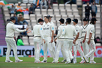 Trent Boult and his team mates celebrate the wicket of Pujara during India vs New Zealand, ICC World Test Championship Final Cricket at The Hampshire Bowl on 19th June 2021