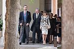 """King Felipe VI of Spain, Iñigo Mendez de Vigo and Queen Letizia during award ceremony of literature in Spanish """"Miguel de Cervantes"""" at University of Alcala de Henares in Madrid., April 20, 2017. Spain.<br /> (ALTERPHOTOS/BorjaB.Hojas)"""
