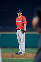 Pawtucket Red Sox relief pitcher Fernando Rodriguez Jr. (29) looks in for the sign during a game against the Rochester Red Wings on July 4, 2018 at Frontier Field in Rochester, New York.  Pawtucket defeated Rochester 6-5.  (Mike Janes/Four Seam Images)