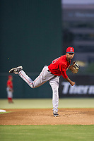 AZL Angels starting pitcher Cristopher Molina (20) follows through on a pitch during a game against the AZL Indians on August 7, 2017 at Tempe Diablo Stadium in Tempe, Arizona. AZL Indians defeated the AZL Angels 5-3. (Zachary Lucy/Four Seam Images)