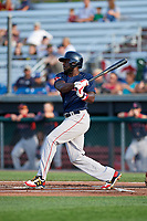 Lowell Spinners designated hitter Brandon Phillips (7) grounds out in the top of the first inning during a game against the Auburn Doubledays on July 13, 2018 at Falcon Park in Auburn, New York.  Phillips was promoted to Triple-A Pawtucket after the game; the former All-Star signed a minor league free agent deal with the Boston Red Sox June 27th and played six games with the Spinners batting .318 with one home run and 7 RBI's.  Lowell defeated Auburn 8-5 in ten innings (Mike Janes/Four Seam Images)