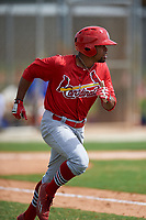 St. Louis Cardinals Vaughn Bryan (5) runs to first base during a Minor League Spring Training game against the New York Mets on March 31, 2016 at Roger Dean Sports Complex in Jupiter, Florida.  (Mike Janes/Four Seam Images)