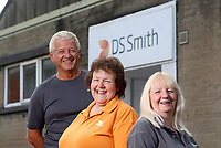 Pictured L-R: Graham Randall, Margaret Jenkins and Jillian Miggins. Thursday 10 August 2017<br /> Re: DS Smith employees Margaret Jenkins, Jillian Miggins and Graham Randall are celebrating 120 years of service between the three of them at the company's Neath factory in south Wales.
