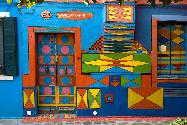 Cacabepi -  Burano island - Venice - Italy The traditional colourful houses of Burano Island, Venice Lagoon, Italy