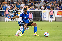 SAN JOSE, CA - AUGUST 13: Jeremy Ebobisse #11 of the San Jose Earthquakes protects the ball during a game between San Jose Earthquakes and Vancouver Whitecaps at PayPal Park on August 13, 2021 in San Jose, California.