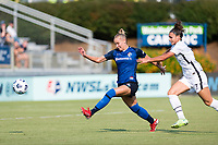 CARY, NC - SEPTEMBER 12: Merritt Mathias #11 of the NC Courage and Sophia Smith #9 of the Portland Thorns chase the ball during a game between Portland Thorns FC and North Carolina Courage at Sahlen's Stadium at WakeMed Soccer Park on September 12, 2021 in Cary, North Carolina.