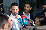 Former Player Juan Carlos Navarro  (l) and Jose Manuel Calderon attend to the media during the first edition of Spanish Basketball Awards. July 25, 2019. (ALTERPHOTOS/Francis Gonzalez)