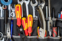Selection of Electricians tools in a pouch