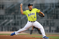 Starting pitcher Alec Kisena (36) of the Columbia Fireflies delivers a pitch in a game against the Hickory Crawdads on Tuesday, August 27, 2019, at Segra Park in Columbia, South Carolina. Columbia won, 3-2. (Tom Priddy/Four Seam Images)