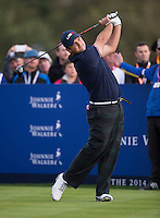 27.09.2014. Gleneagles, Auchterarder, Perthshire, Scotland.  The Ryder Cup.  Patrick Reed [USA] on the 18th during the Saturday Foursomes.