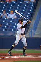 Bradenton Marauders designated hitter Cole Tucker (3) at bat during the second game of a doubleheader against the Tampa Yankees on April 13, 2017 at George M. Steinbrenner Field in Tampa, Florida.  Tampa defeated Bradenton 2-1.  (Mike Janes/Four Seam Images)