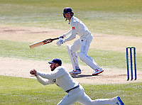 Yorkshire's Keaton Jennings is out as he edges to Kent's Jack Leaning off the bowling of Darren Stevens during Kent CCC vs Lancashire CCC, LV Insurance County Championship Group 3 Cricket at The Spitfire Ground on 22nd April 2021