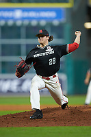 Houston Cougars relief pitcher Brayson Hurdsman (28) in action against the Mississippi State Bulldogs in game six of the 2018 Shriners Hospitals for Children College Classic at Minute Maid Park on March 3, 2018 in Houston, Texas. The Bulldogs defeated the Cougars 3-2 in 12 innings. (Brian Westerholt/Four Seam Images)