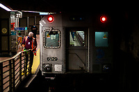 NEW YORK, NY - NOVEMBER 18:  A Man works on a MTA's train at Gran Central Terminal on November 18, 2020 in New York. MTA is facing a $3 billion deficits that will bring reductions of Subways, trains and buses of 40-50% in service, and layoffs of over 9,000 staff. (Photo by Eduardo MunozAlvarez/VIEWpress)