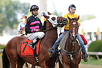 May 17, 2014. Kid Cruz, Julian Pimentel up, joins the Preakness post parade. California Chrome, Victor Espinoza up, wins the 139th Preakness Stakes at Pimlico Race Course in Baltimore, MD. ©Joan Fairman Kanes/ESW/CSM