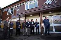 Pictured from 2nd L: Steve Kaplan, Jason Levien, Landon Donovan and John Toshack MBE Tuesday 04 April 2017<br />Re: Official opening of the Fairwood Training Complex of Swansea City FC, Wales, UK