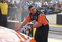 Apr. 5, 2013; Las Vegas, NV, USA: NHRA crew chief Rob Wendland for funny car driver Johnny Gray during qualifying for the Summitracing.com Nationals at the Strip at Las Vegas Motor Speedway. Mandatory Credit: Mark J. Rebilas-