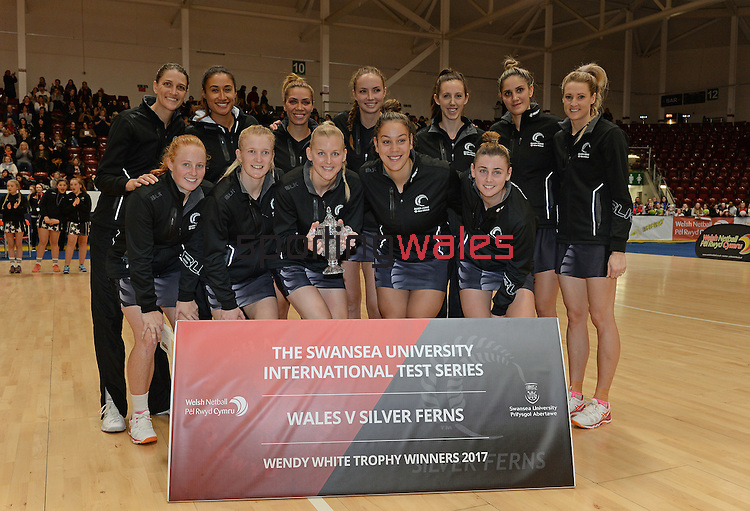 New Zealand team winners  <br /> <br /> Swansea University International Netball Test Series: Wales v New Zealand<br /> Ice Arena Wales<br /> 08.02.17<br /> ©Ian Cook - Sportingwales