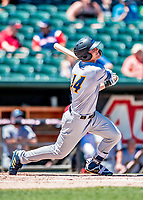 18 July 2018: Trenton Thunder outfielder Trey Amburgey gets a single in the 5th inning against the New Hampshire Fisher Cats at Northeast Delta Dental Stadium in Manchester, NH. The Thunder defeated the Fisher Cats 3-2 concluding a previous game started April 29. Mandatory Credit: Ed Wolfstein Photo *** RAW (NEF) Image File Available ***