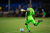 LAKE BUENA VISTA, FL - JULY 27: Kenneth Vermeer #1 of LAFC kicks the ball during a game between Seattle Sounders FC and Los Angeles FC at ESPN Wide World of Sports on July 27, 2020 in Lake Buena Vista, Florida.