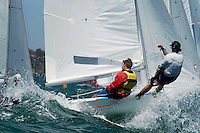 Two sailors hang off the side of the boat.
