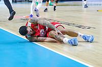 13th October 2021; Wizink Center; Madrid, Spain; Turkish Airlines Euroleague Basketball; game 3; Real Madrid versus AS Monaco; Mike James (AS Monaco) lying on the floor with a leg injury