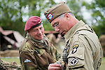 Brothers in arms, a Paratoorper from the British 6th Airborne Division and technical sergeant of the American 101st airborne division take part in living history displays at the 7 Lake Country Park 1940's weekend<br /> <br />   24/25 September 2016<br />   Copyright Paul David Drabble<br />   www.pauldaviddrabble.photoshelter.com