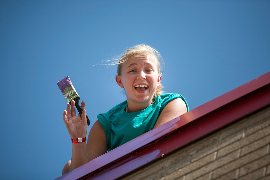 """Samantha Zent poses for a portrait during """"Circle the City with Service,"""" the Kiwanis Circle K International's 2015 Large Scale Service Project, on Wednesday, June 24, 2015, at the Friendship Westside Center for Excellence in Indianapolis. (Photo by James Brosher)"""