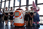 """August 01 2012, Tokyo, Japan - The new staff swearing-in ceremony at Tokyo Tower. Tokyo Tower implemented the new robot guide which name is """"Tawabo"""", the first indoor robot guide in Japan. It can speak Japanese, English, Chinese and Korean, it weights 200kg and it is 160cm tall."""