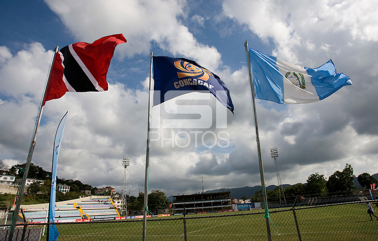 Flags of the participating nations fly over the field during the group stage of the CONCACAF Men's Under 17 Championship at Jarrett Park in Montego Bay, Jamaica. Trinidad & Tobago defeated Guatemala, 1-0.