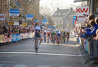 Guillaume Van Keirsbulck (BEL) stays out of the pelotons claws and wins the stage<br /> <br /> 3 Days of West-Flanders<br /> stage 2: Nieuwpoort - Ichtegem 186km