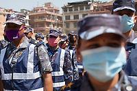 Nepali police forces before an excavation at Kathmandu Durbar Square, Kathmandu, Nepal. May 03, 2015