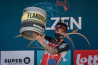 Caleb Ewan (AUS/Lotto Soudal) getting a keg of beer after winning stage 5<br /> <br /> 17th Benelux Tour 2021<br /> Stage 5 from Riemst to Bilzen (BEL/192km)<br /> <br /> ©kramon