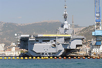 - French  Navy, Toulon naval base, Charles de Gaulle aircraft carrier.. ..- Marina Militare Francese, base navale di Tolone, portaerei Charles de Gaulle