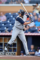 Toledo Mud Hens first baseman Jordan Lennerton #12 swings at a pitch during a game against the Durham Bulls at Durham Bulls Athletic Park on July 25, 2014 in Durham, North Carolina. The Mud Hens defeated the Bulls 5-3. (Tony Farlow/Four Seam Images)