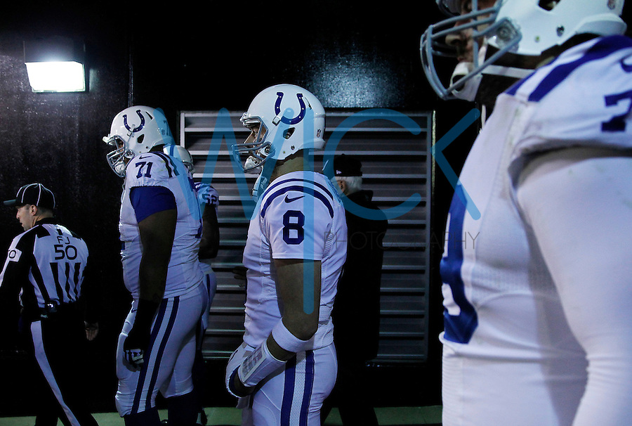 Matt Hasselbeck #8 of the Indianapolis Colts waits to take the field in the tunnel prior to the game against the Pittsburgh Steelers at Heinz Field on December 6, 2015 in Pittsburgh, Pennsylvania. (Photo by Jared Wickerham/DKPittsburghSports)