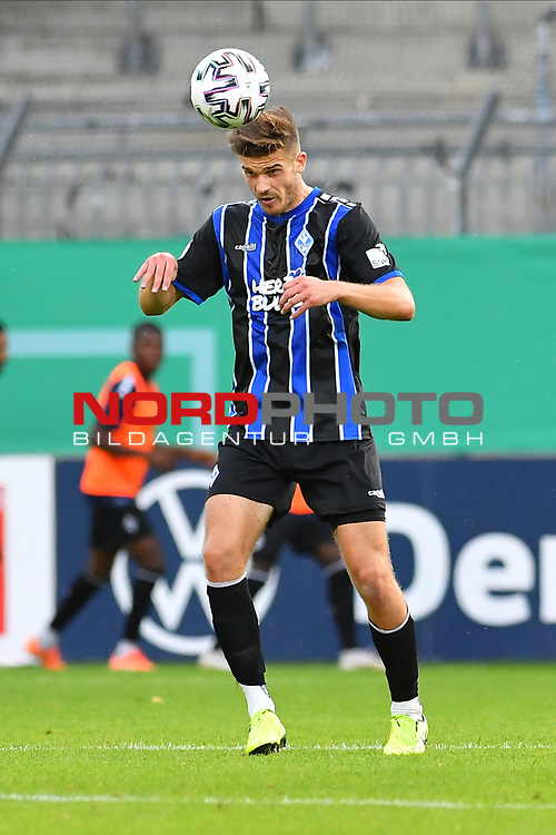 13.09.2020, Carl-Benz-Stadion, Mannheim, GER, DFB-Pokal, 1. Runde, SV Waldhof Mannheim vs. SC Freiburg, <br /> <br /> DFL REGULATIONS PROHIBIT ANY USE OF PHOTOGRAPHS AS IMAGE SEQUENCES AND/OR QUASI-VIDEO.<br /> <br /> im Bild: Jan Just (SV Waldhof Mannheim #22)<br /> <br /> Foto © nordphoto / Fabisch