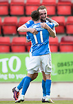 St Johnstone v Hearts 17.05.17     SPFL    McDiarmid Park<br />Chris Kane celebrates his goal with Danny Swanson<br />Picture by Graeme Hart.<br />Copyright Perthshire Picture Agency<br />Tel: 01738 623350  Mobile: 07990 594431