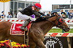 BALTIMORE, MD - MAY 19: Fire Away, #1, ridden by Manuel Franco, wins the Dixie Stakes on Preakness Day at Pimlico Race Course on May 19, 2018 in Baltimore, Maryland (Photo by Sue Kawczynski/Eclipse Sportswire/Getty Images)
