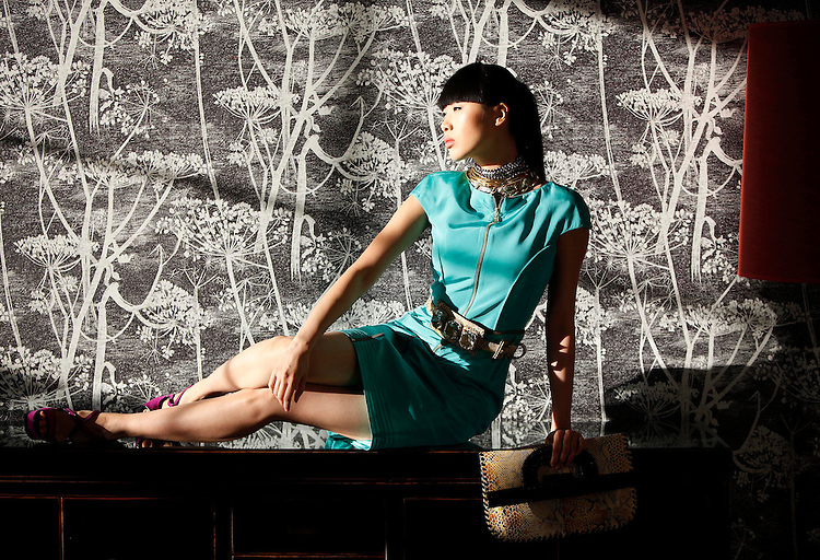 Model Yomiko wearing a design from Nokia Young Fashion Designer Award 2010 (NYFDA) student mentor, Joanne Hynes', Spring Summer 2010 collection.