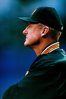 Oakland Athletics Manager Art Howe plays in a baseball game at Edison International Field during the 1998 season in Anaheim, California. (Larry Goren/Four Seam Images)