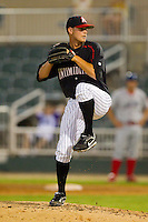 Relief pitcher Jimmy Ballinger #29 of the Kannapolis Intimidators in action against the Lakewood BlueClaws at Fieldcrest Cannon Stadium July 14, 2010, in Kannapolis, North Carolina.  Photo by Brian Westerholt / Four Seam Images