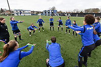 players of Club Brugge pictured during the warming up of a female soccer game between Club Brugge Dames YLA and Oud Heverlee Leuven on the first matchday in Play-Off 1 of the 2020 - 2021 season of Belgian Scooore Womens Super League , saturday 3 th April 2021  in Brugge , Belgium . PHOTO SPORTPIX.BE | SPP | DIRK VUYLSTEKE
