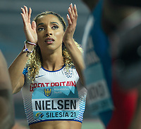 1st May 2021; Silesian Stadium, Chorzow, Poland; World Athletics Relays 2021. Day 1; Laviai Nielsen claps as she finds out the British time in the mixed 4 x 400 heats