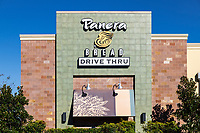 Panera Bread restaurant drive through service.